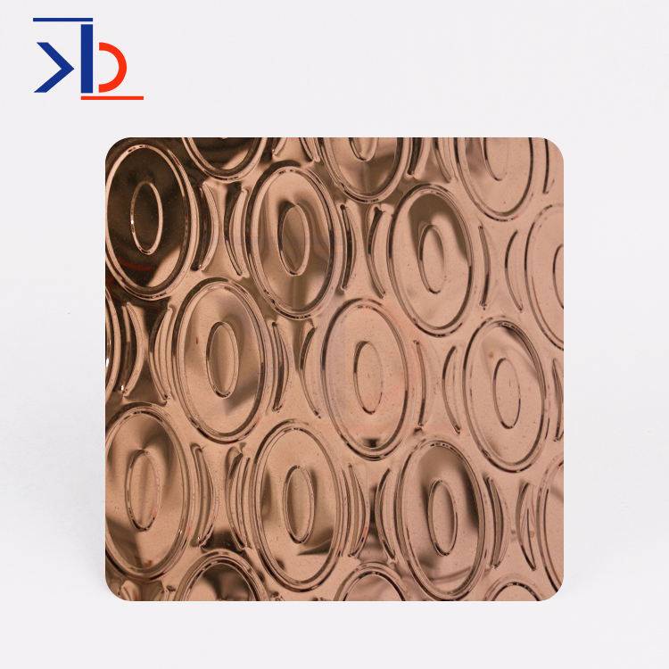 rose gold mirror stamped plate 2D 3D pattern stamping sus 304 stainless steel decorative sheet metal for KTV decoration