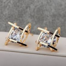 European and American Trinkets Triangle Zircon Earrings Toe Square Zircon Stud Earrings Women Earrings Wholesale