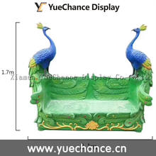 Custom Outdoor Decoration Fiberglass Peacock Bench Statue