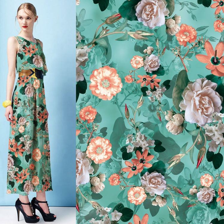 eco-friendly no moq digital print satin fabric 2020 New style 100% polyester satin custom digital print flower fabric for dress