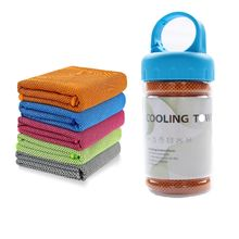 Owned Factory Supply Microfiber printed logo Instant Cooling Sports Towel With PET Bottle