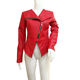 Red Unique Design Women Leather Jackets Superior Material Jacket for Mature Female with Zip Closure
