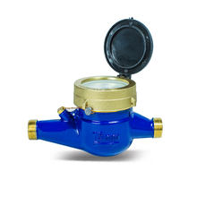 Multi Jet Dry R100 DN20 Brass Water Meter Body with connectors