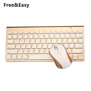 Super Slim Gold Fashion Mini Wireless Keyboard Mouse Combo