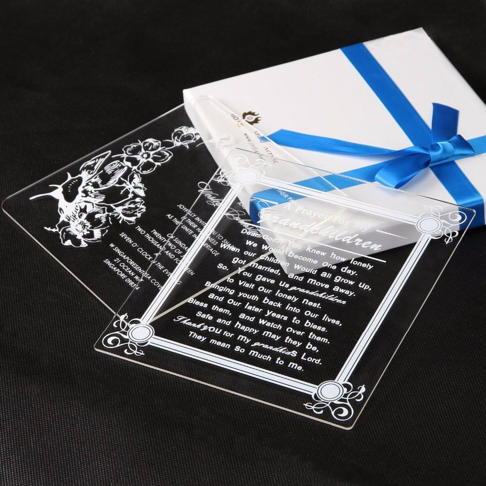 fashion cheap glass invitation card,fantastic decent acrylic invitation