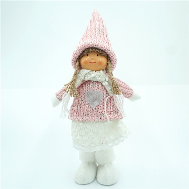 Wool Knitting Fabric Christmas Ornaments Lovely Pink Girl Winter Children Standing Doll Decoration