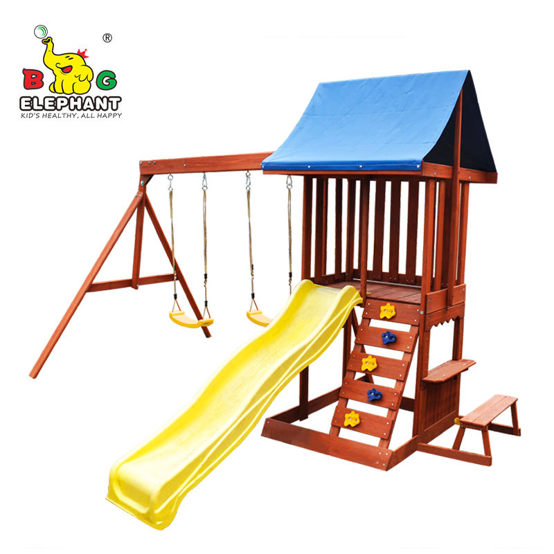 2020 New Home Garden Wooden play swing Set with Plastic Slide