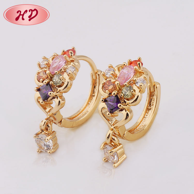 Shiny Single Stone Gold Jhumka Earrings Design With Price