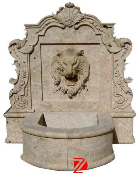 Outdoor lion head wall marble fountains sculpture