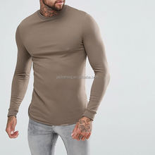 95% cotton 5% spandex plain slim fit curve hem men's long sleeve tshirt