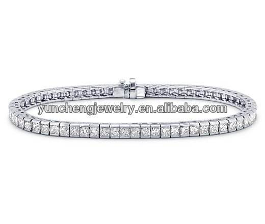 YCB364 925 Sterling Silver Tennis Bracelet with Square CZ