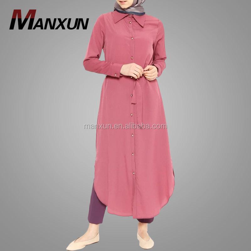 Front Button Down Long Tunic Muslim Dress Abaya In Islamic Clothing T-shirt Top