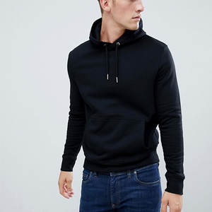2019 Custom 100%Cotton Mens New Fashion Wholesale Plain Slim Fit Black Hoodies No Brand