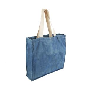 Cotton Denim Fabric shopping tote bag with cotton handles and metal button