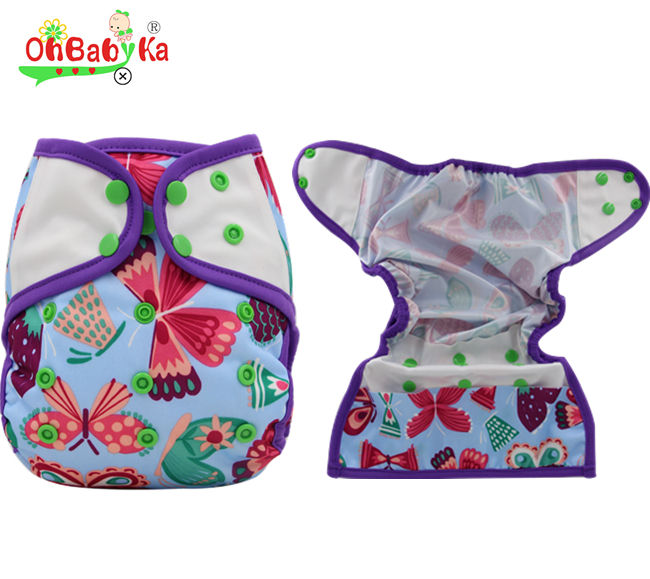Ohbabyka Double rows Snap Breathable PUL One size fit all Baby Cloth Diaper Covers