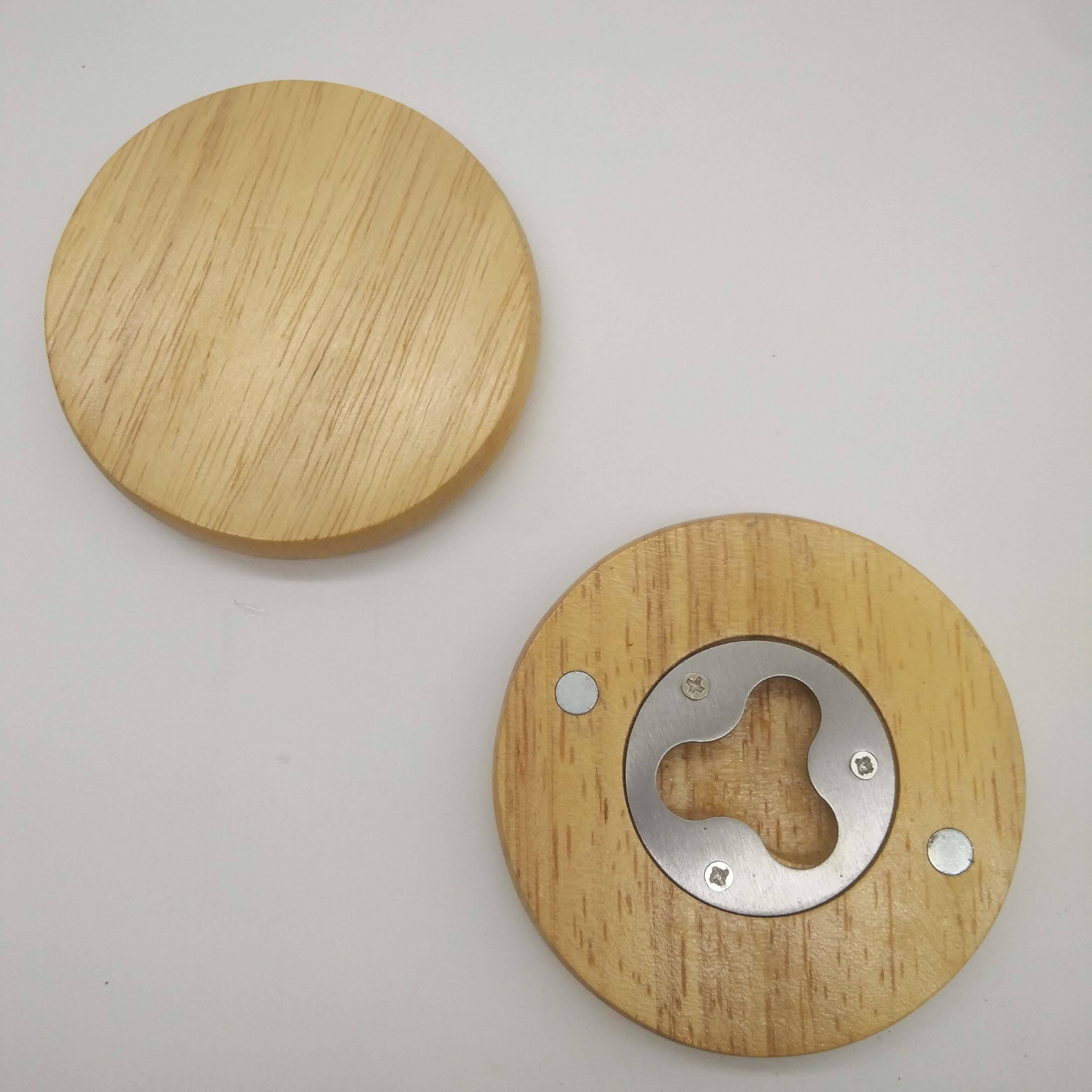 Stainless Steel Magnetic Round Coaster Wooden Beer Bottle Opener