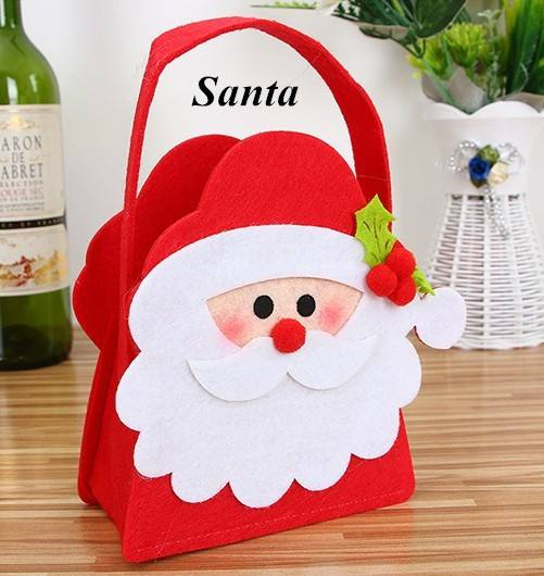 Factory price red felt fabric Santa Claus christmas tree gift storage bag