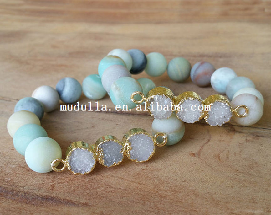 BM20500 New Gold Plated Triple Agate Druzy Beaded Stretch Bracelet Matte Amazonite Beads Bangles