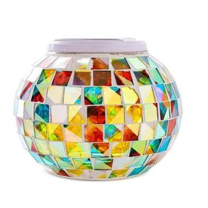 Solar Powered Color Changing outdoor indoor Decorative Garden LED Night glass mosaic table ball Solar 3D jar Lights