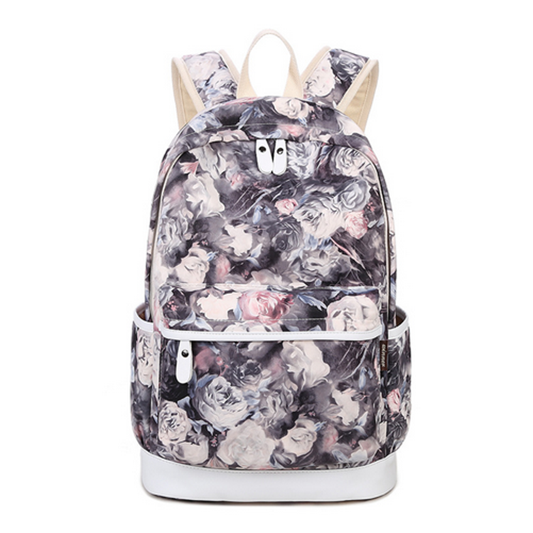 Factory Supply canvas custom flower print school backpack for girls