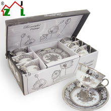 Creative silver plated Chinese porcelain coffee tea cup and saucer set