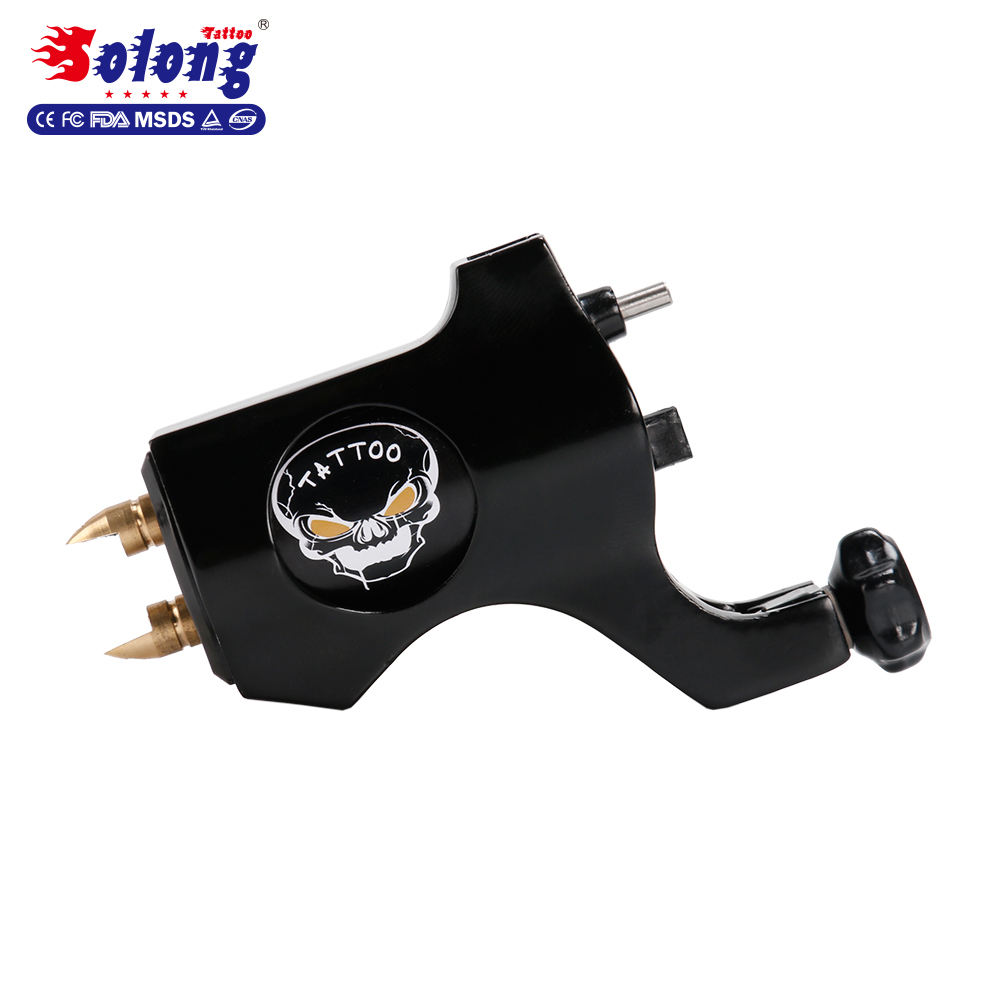 Solong Tattoo Brand M654-1 Black Color 4.5w Motor Taiwan Clip Cord Connection Line Top Quality Alloy Machine Tattoo Rotary Gun