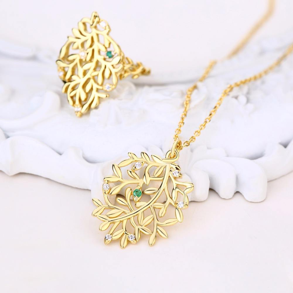 Italian 925 sterling silver jewellery vine leaf shaped emerald gold jewelry set
