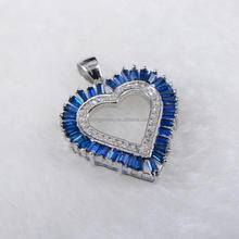hot-selling 925 sterling silver pendant gold plated heart-shaped cz pendant