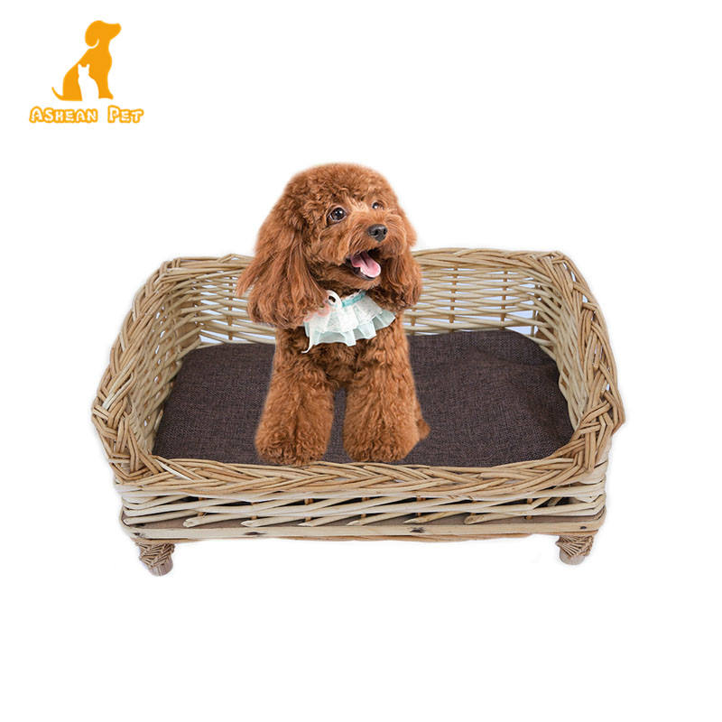 Wholesale Summer Eco-friendly Gray Wicker Rattan Rufus Pet Dog Bed With Legs