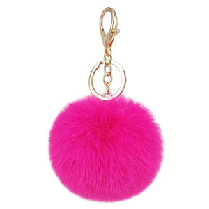 2020 New design faux fur keychain puff ball for lady bags