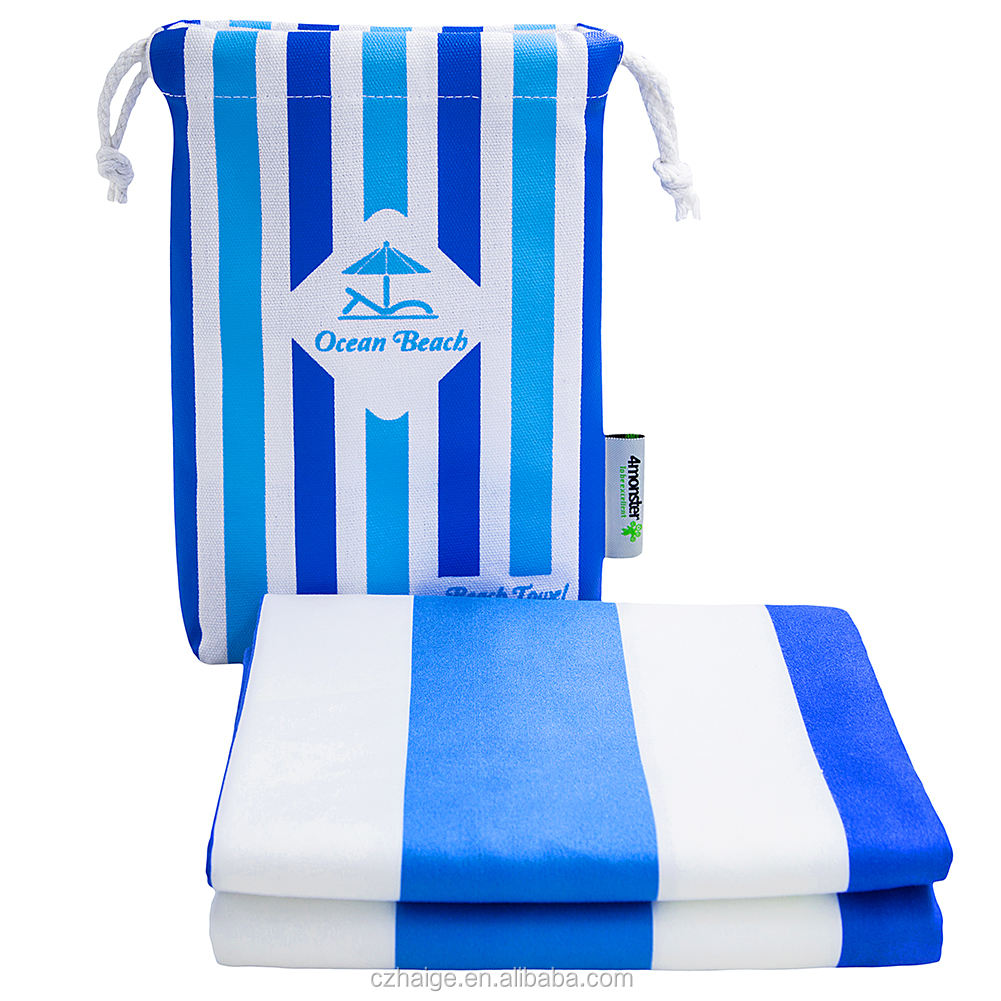 Wholesale Microfiber sublimation logo printed beach towel with cotton pocket