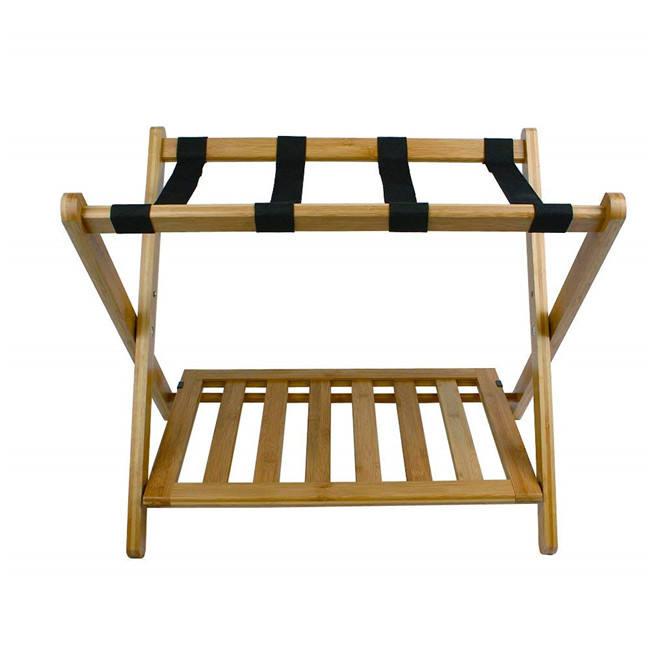 bamboo Luggage Rack Stand with Shoe Shelf Stable Durable Suitcases Racks Foldable Baggage Holder