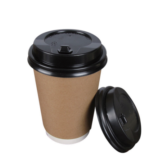 100% Food Grade 8oz 12oz 16oz Kraft Double Wall Paper Cups with Lid