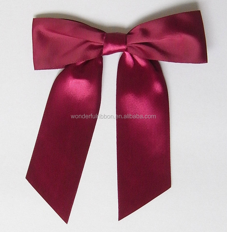 Wholesale satin Ribbon bow for gift red ready made satin ribbon bow with sticky pad for invitation