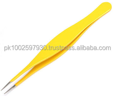 eye brow pointed tweezers/ manicure tweezers/ yellow tweezers