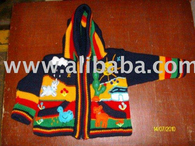 CARDIGAN FOR BOYS WITH DECORATIVE APPLICATIONS HAND-MADE