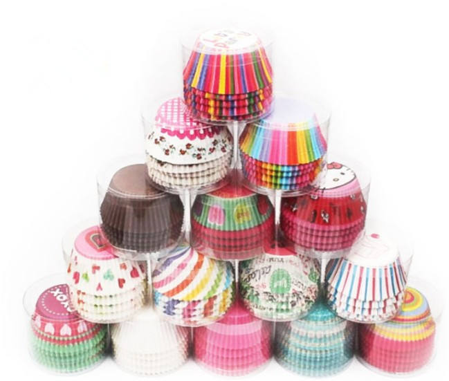 Amazon hot sale 100PCS Thick Color Cartoon Pattern Paper Cup Cake/Mini Baking Cup