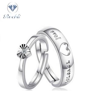 Wholesale Fashion Jewelry Women Ladies Silver Crystal Wedding Couple Rings Wedding Ring