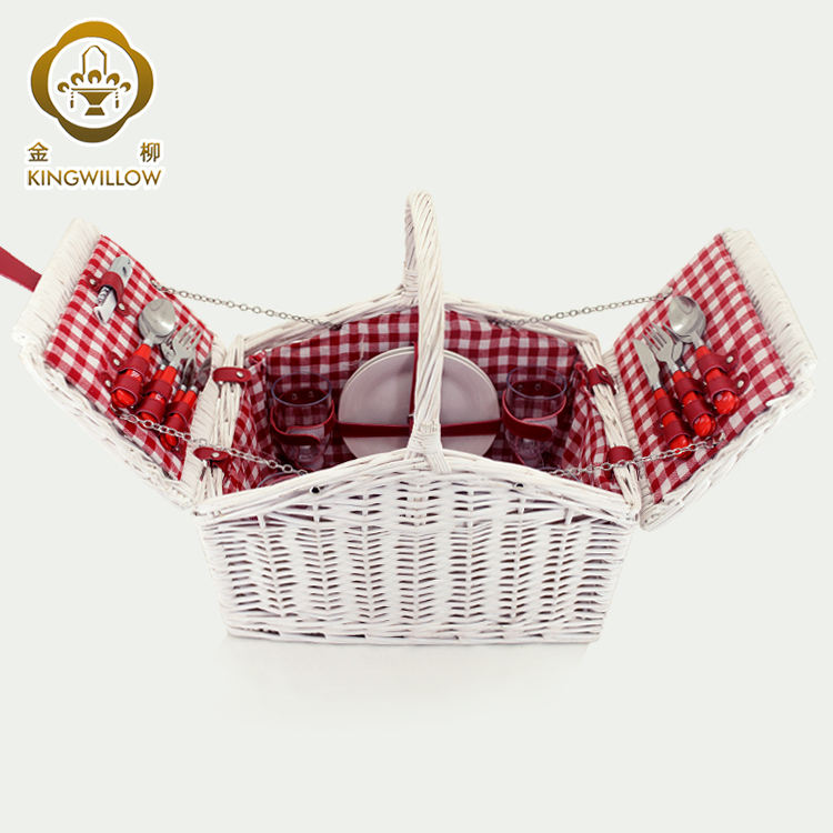 Outdoor hamper wicker basket for gift white willow picnic basket 4 person