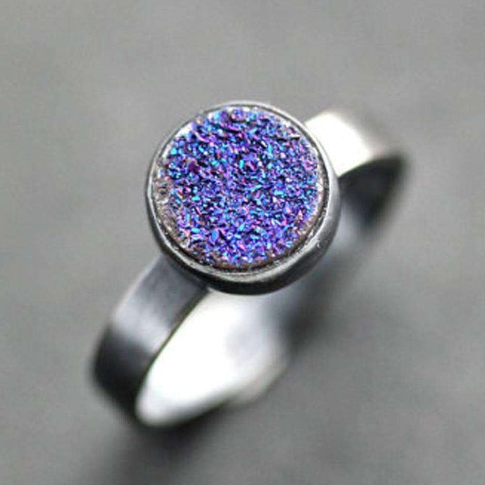 925 Sterling Silver Round Druzy Stone Engagement Ring