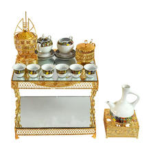 2020 popular arabic metal table set with porcelain tea cup and coffee pot