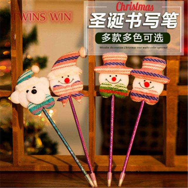 2019 school stationery items list hot sale cute christmas toy advertising ballpen with logo 435