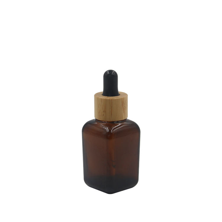 natural bamboo 30ml 50ml square amber glass essential oil bottle with dropper