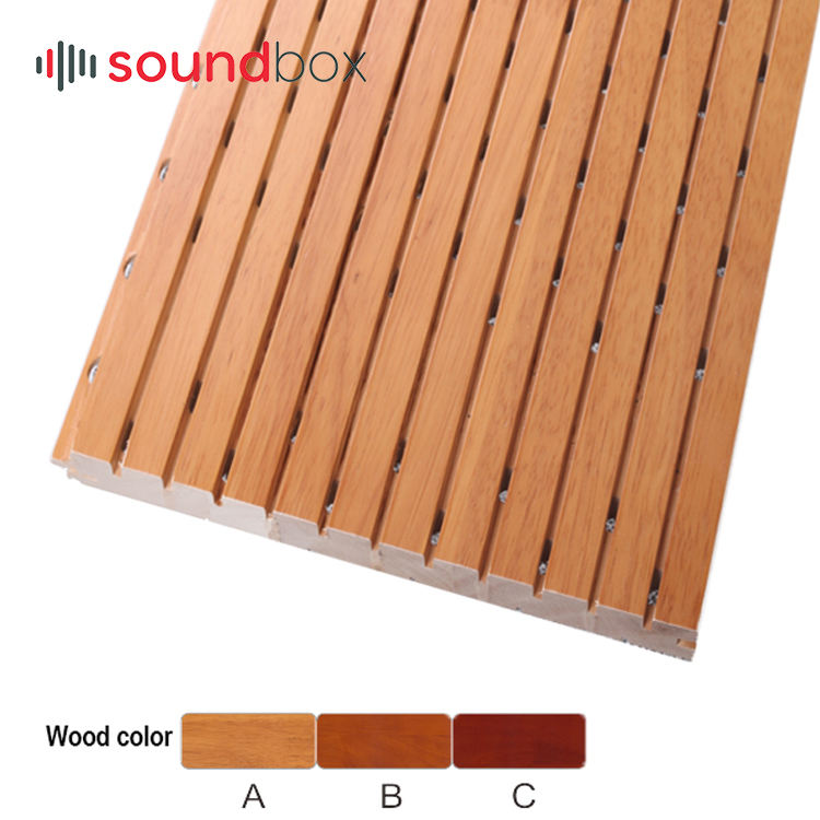 Auditorium/church Eco Friendly Cheap <span class=keywords><strong>MDF</strong></span> Fire Retardant Acoustic Grooved panel