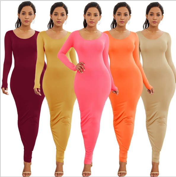 RLYD113 European and American style sexy slim long-sleeved wrap dress fashion wrapped chest nightclub ankle-length dress