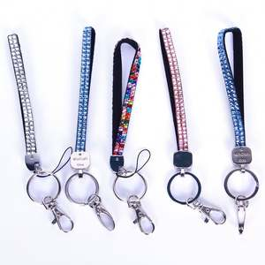 2PCs Rhinestone Bling Crystal Cell Phone Holder Key Chain Wristlet Lanyard