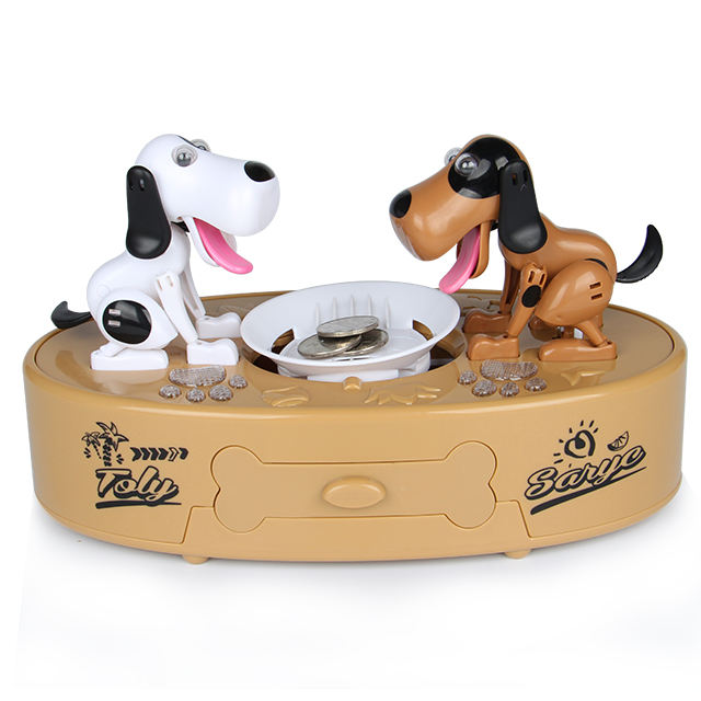Xiaoboxing good quality two robotic dogs rob game brown battery operated saving coin collector doggy piggy bank money box