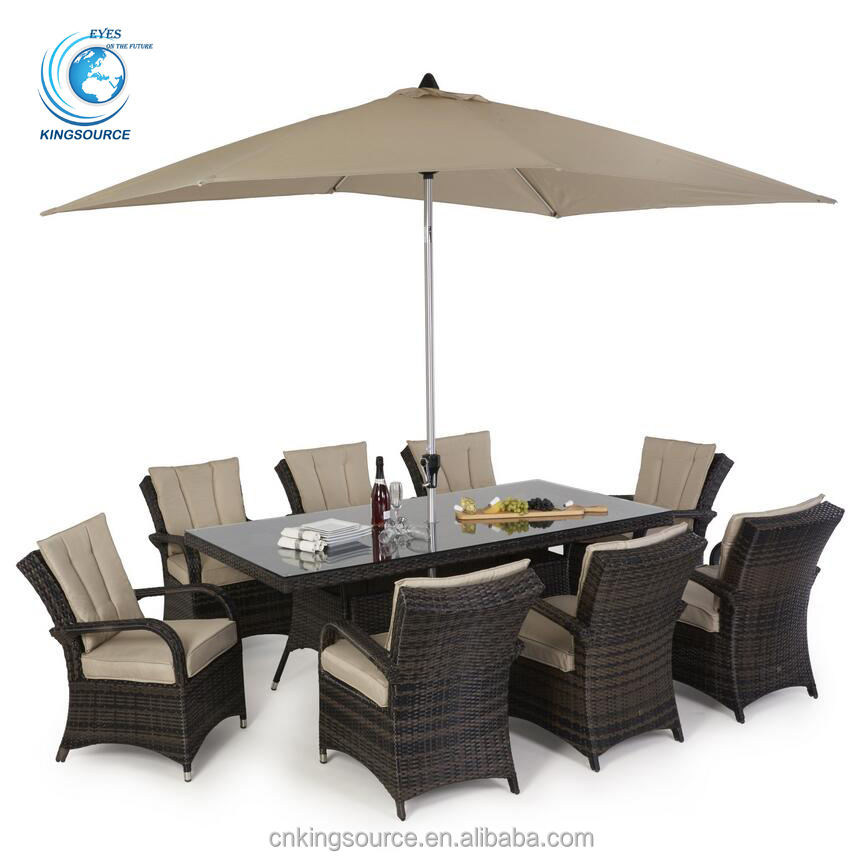 Hot sale outdoor garden pe rattan dining set with cushions