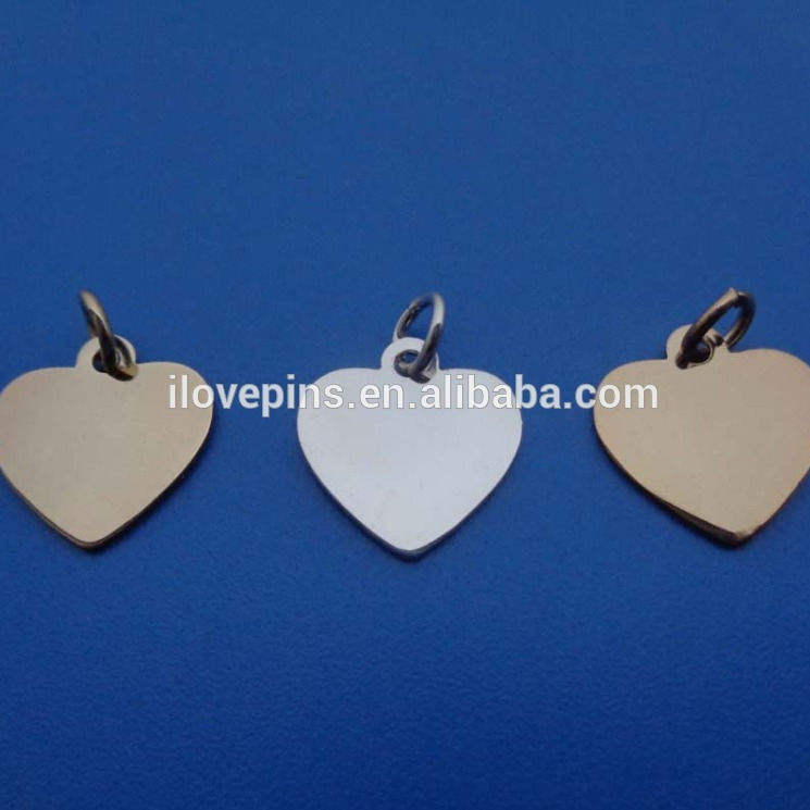 Heart shaped blank aublimation metal jewelry pendants with wholesale