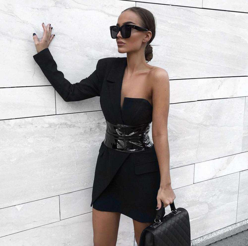 A2767 MIGO 2020 New Style Black Elegant One Shoulder With Belt Mini Casual Dress For Women Wear